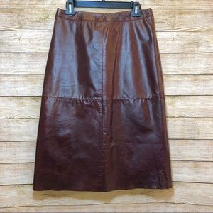 VINTAGE Gap A-Line Leather Skirt Mahogany Brown